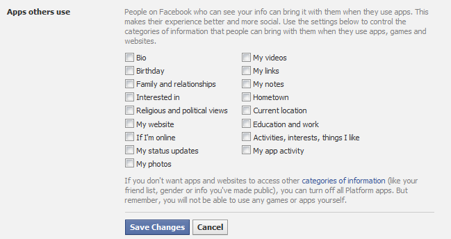 Facebook 'apps others use' settings screenshot