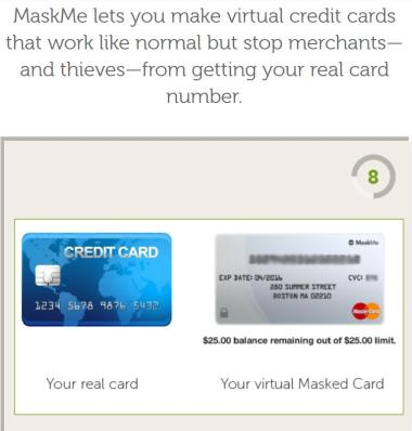 abine mask me virtual credit card numbers image