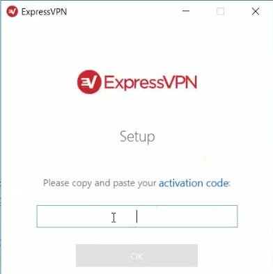 screenshot of ExpressVPN setup screen prompting for activation code