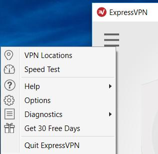 screenshot of ExpressVPN's Settings menu