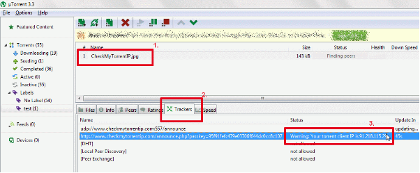 torrent ip in trackers tab screenshot