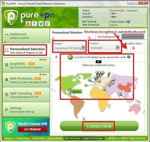 Selecting advanced anonymous torrent PureVPN settings