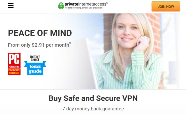 Screenshot of privateinternetaccess.com homepage