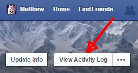 accessin Facebook's activity log image