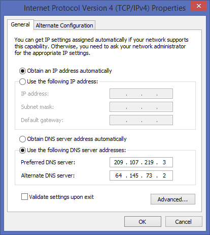 Changing Window's DNS settings image