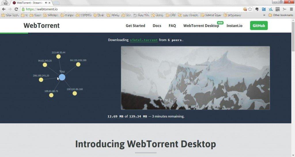 WebTorrent screenshot