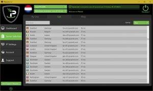 IPVanish VPN Server list screenshot