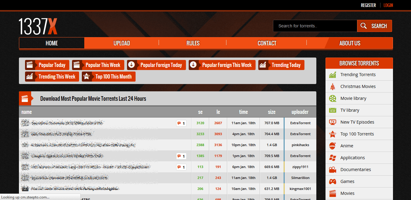 Screenshot of 1337x torrent search engine homepage