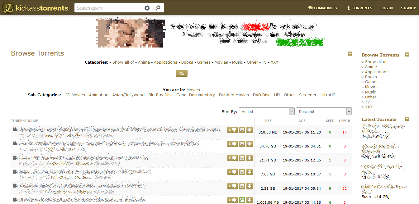 Screenshot of KickassTorrents homepage.