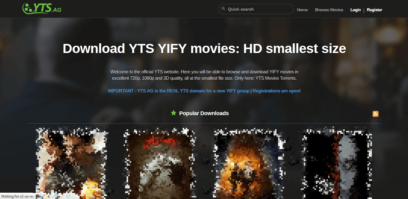 Screenshot of YTS (aka YIFY) homepage.