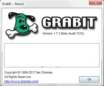 Screenshot of GrabIt's about box.