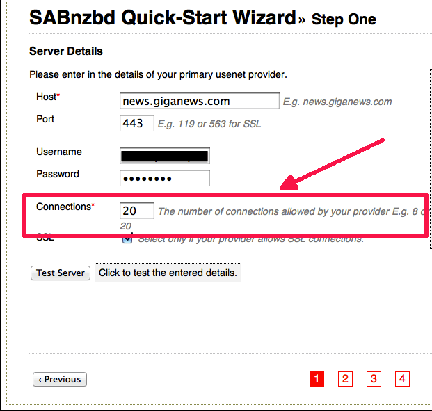 Screenshot of SABnzbd's Quick-Start Wizard for entering news server details.