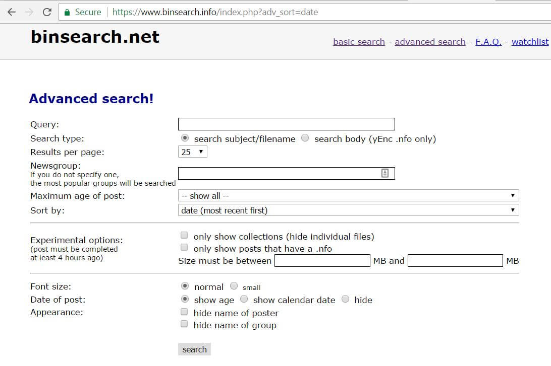 screenshot of binsearch.net