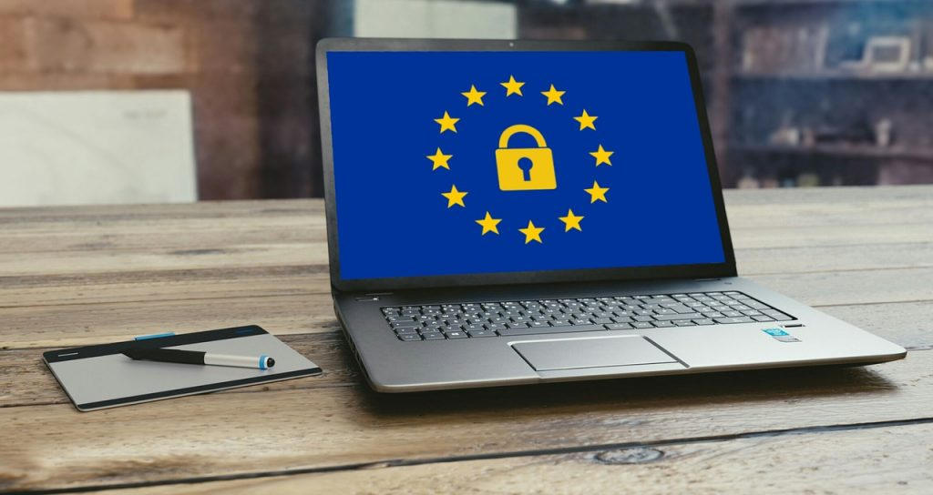 photo of laptop with EU emblem with a lock