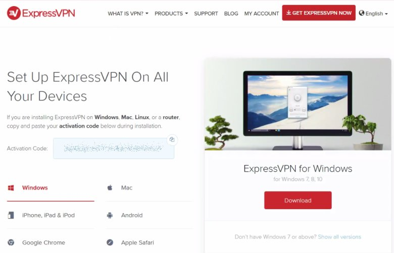 screenshot of ExpressVPN activation code landing page