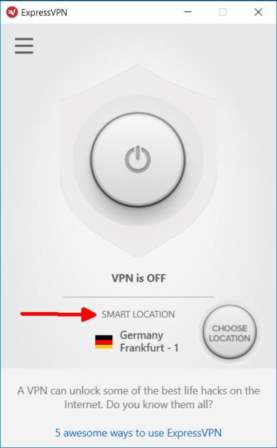 screenshot of ExpressVPN app with smart location highlighted