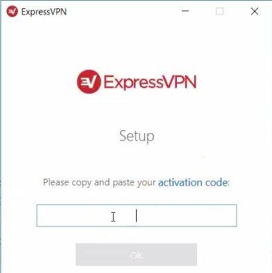 skjermbilde av ExpressVPN-oppsettskjermen som ber om aktiveringskode