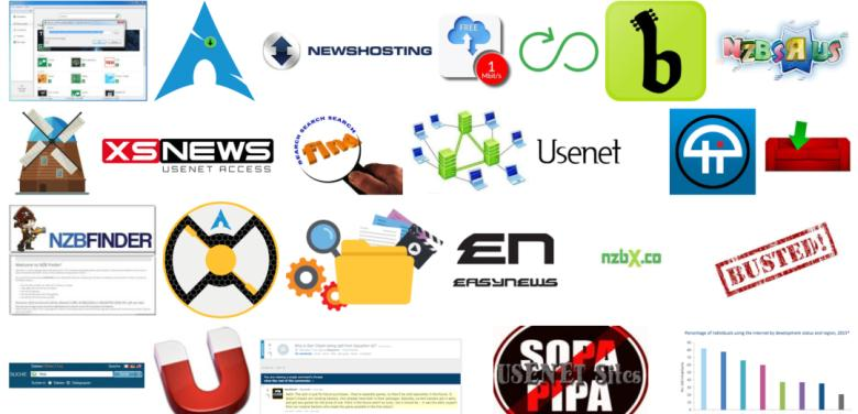 Screenshot of collage image generated from Google image search of various Usenet terms.