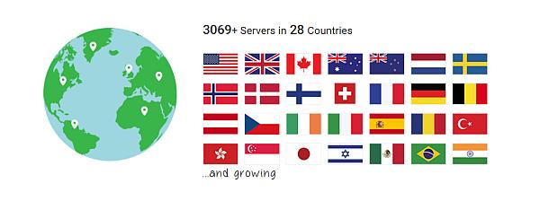 screenshot from PIA's website about its server network