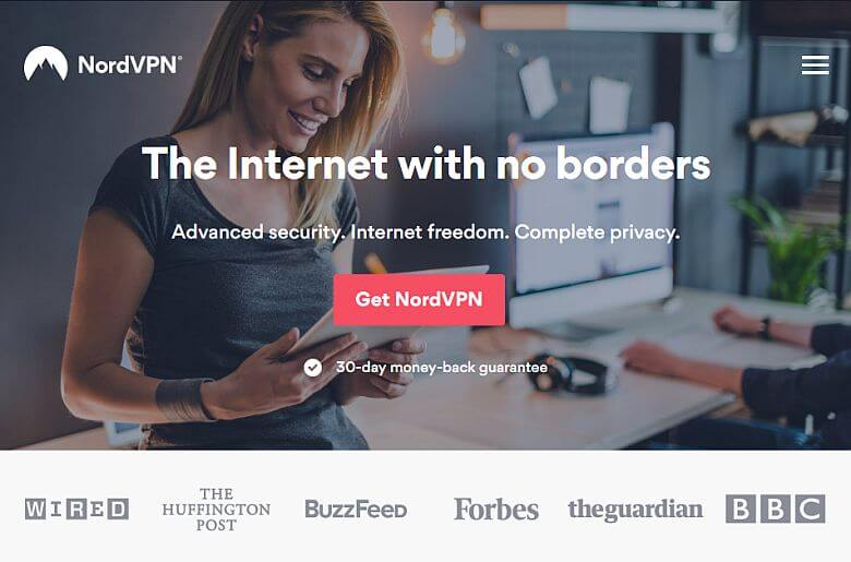 Screenshot of NordVPN homepage.