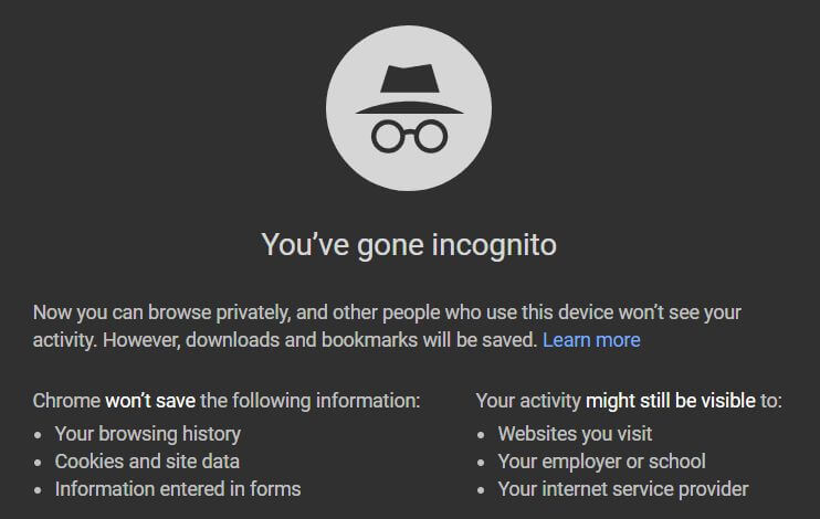 screenshot of incognito mode's own warnings