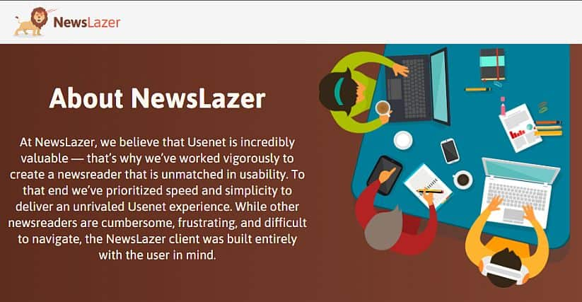 Screenshot of Newslazer homepage.