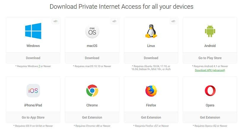 Private Internet Access apps image