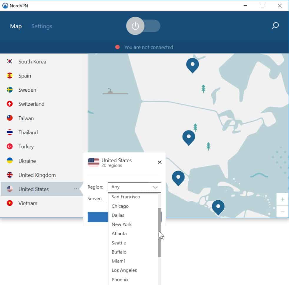 nordvpn select server country city screenshot image