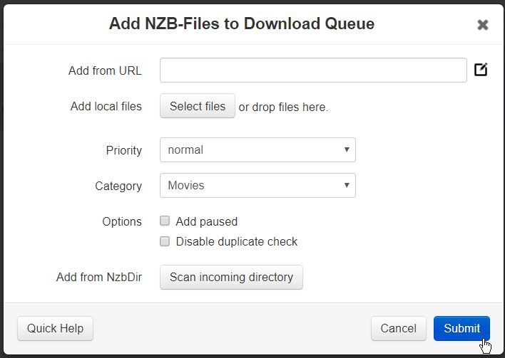 Screenshot showing how to add an NZB to NZBGet.