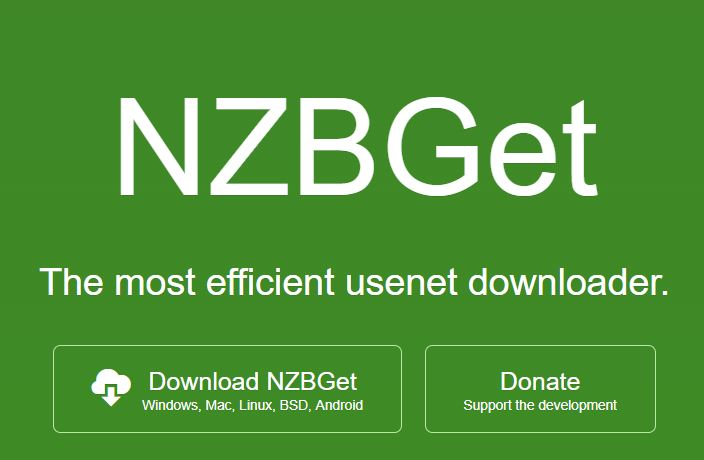 Screenshot from NZBGet homepage