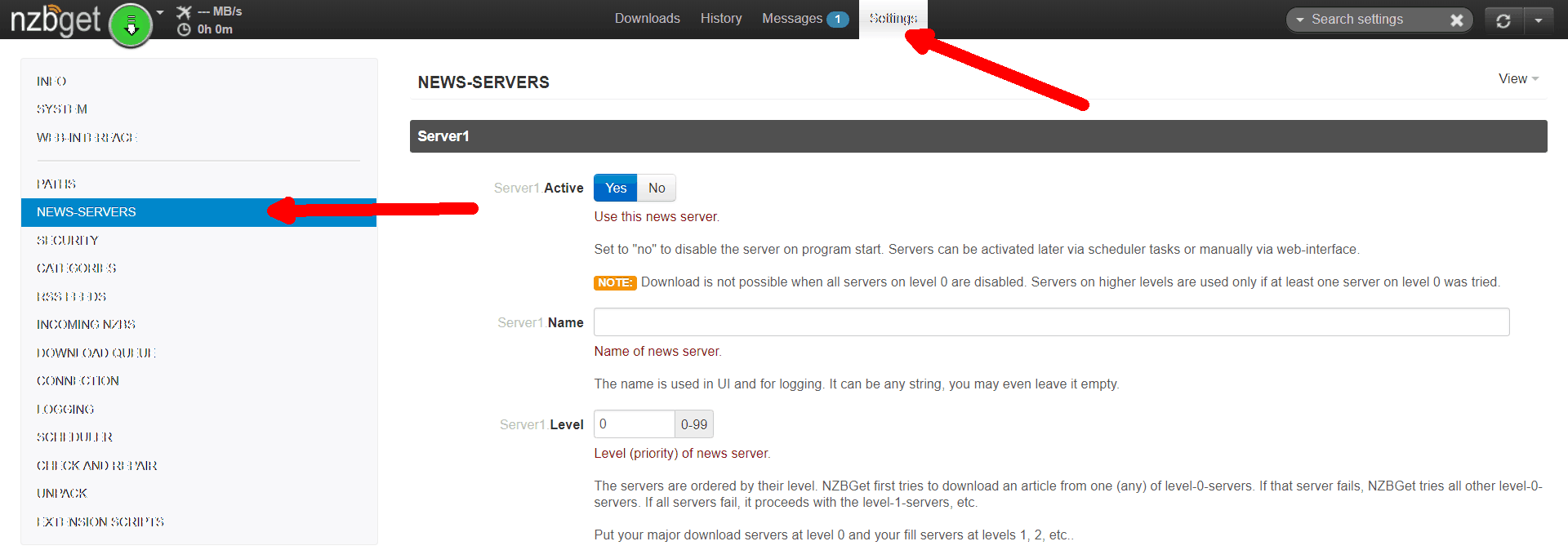 screenshot of nzbget settings news servers