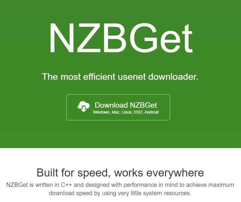 Screenshot from NZBGet's homepage with motto 'The most efficient usenet downloader'.