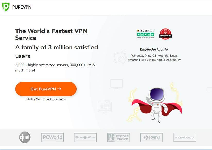 Screenshot of PureVPN's homepage.