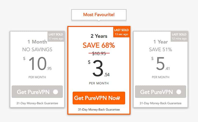 PureVPN deal screenshot