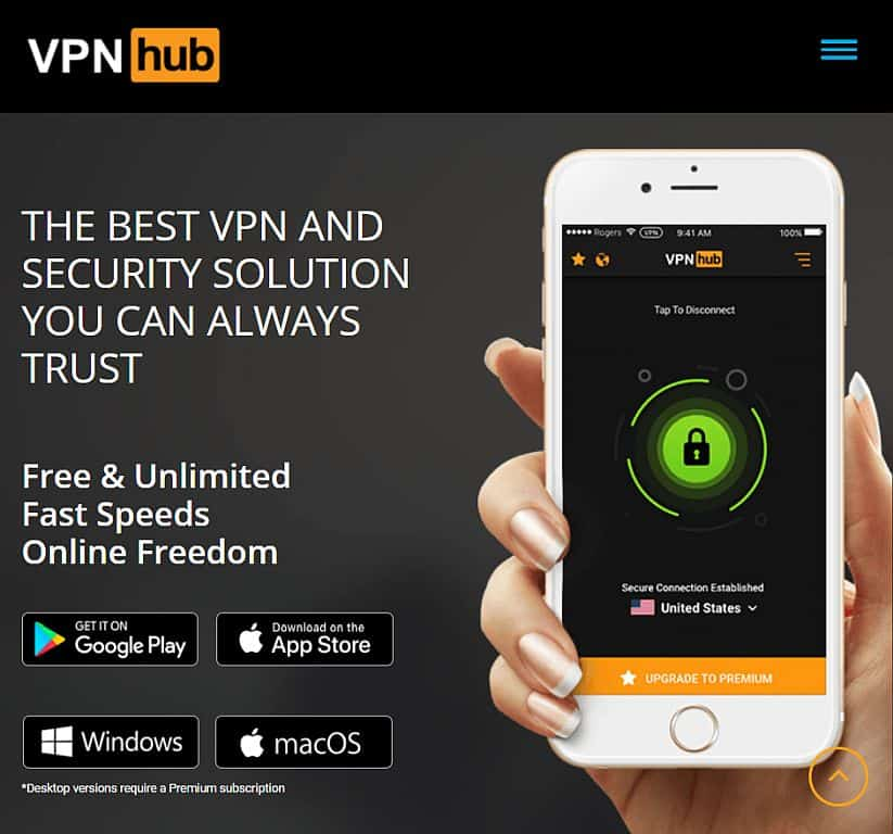 VPNHub homepage screenshot