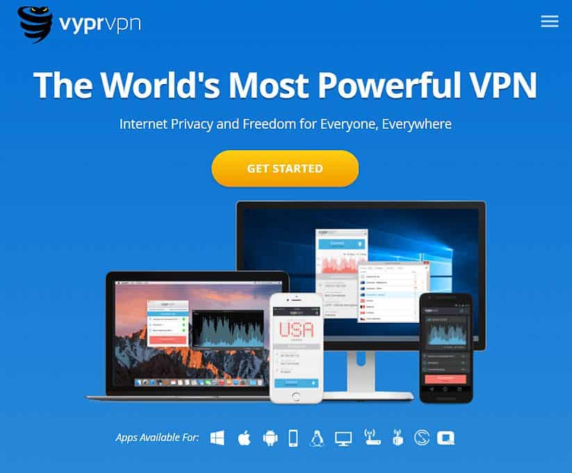 VyprVPN review screenshot of homepage