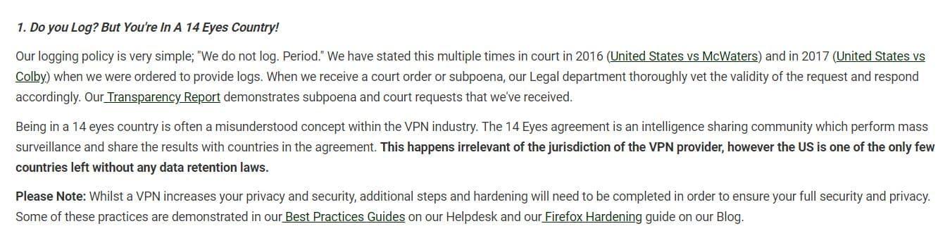 pia no log VPN FAQ screenshot