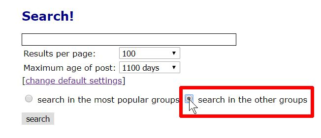 Screenshot of BinSearch's 'search in other newsgroups' option.