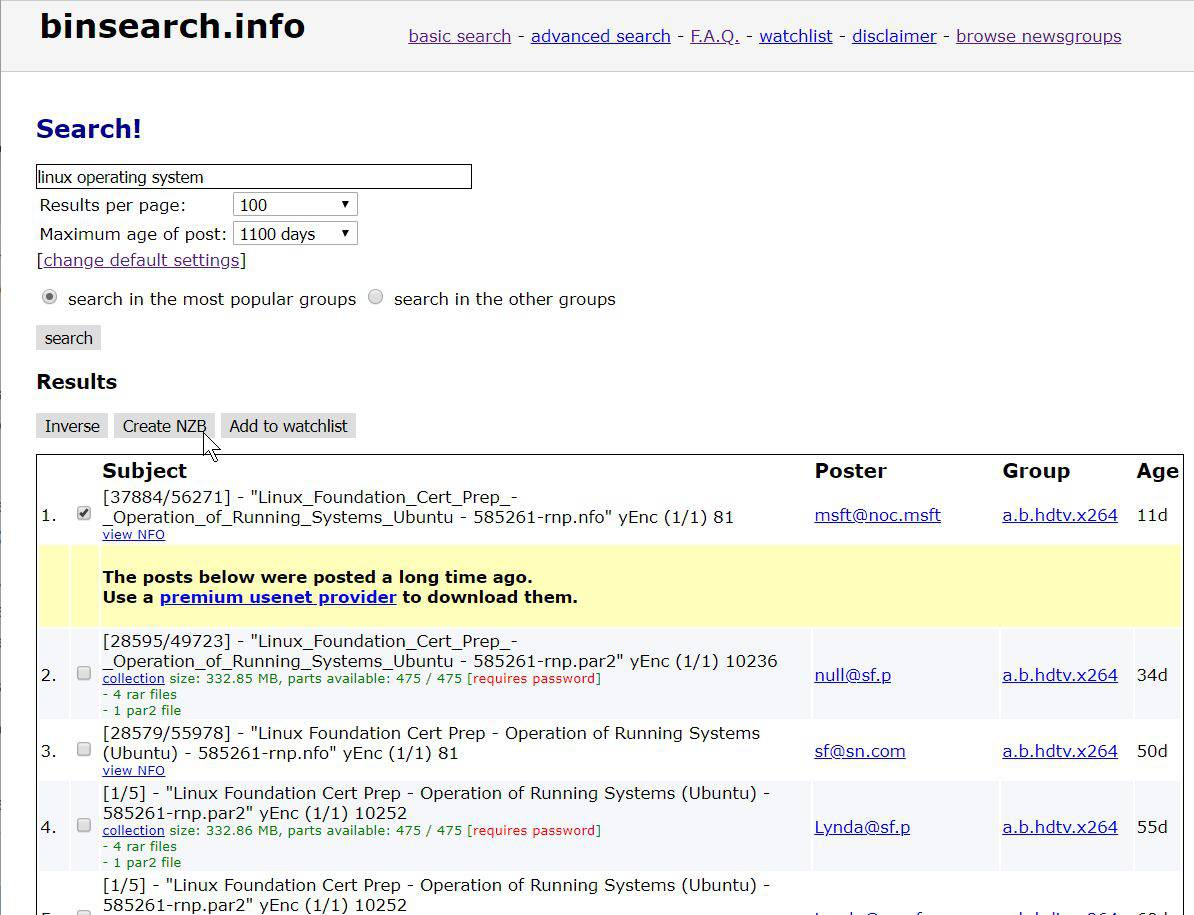 Screenshot of example BinSearch search results.