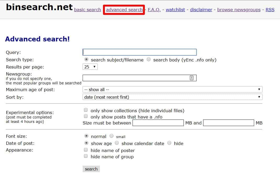 Screenshot of BinSearch advance search options.