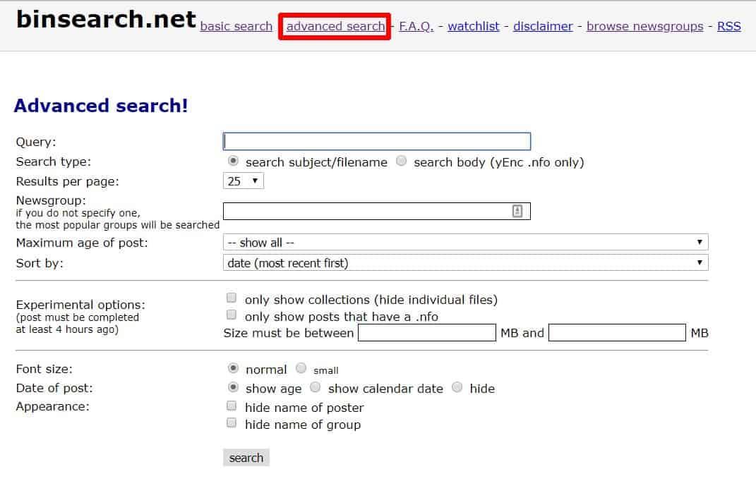 Screenshot of BinSearch advance search options.