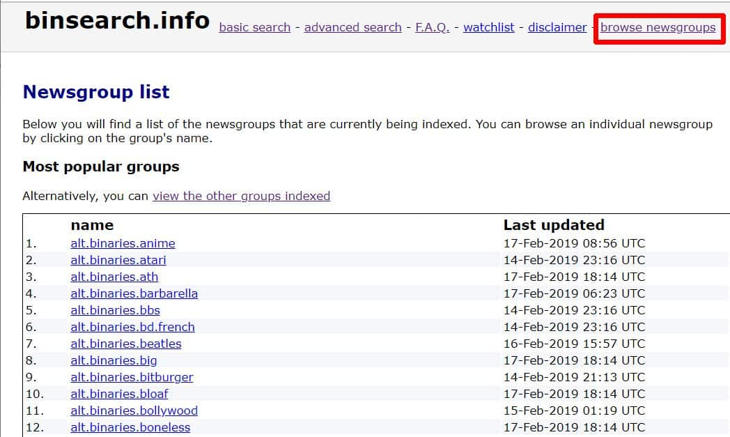 Screenshot of BinSearch's browse newsgroups feature.