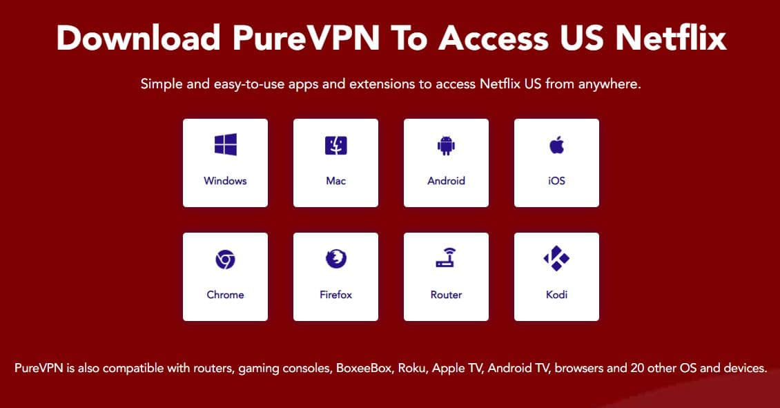 Image of PureVPN supported devices.