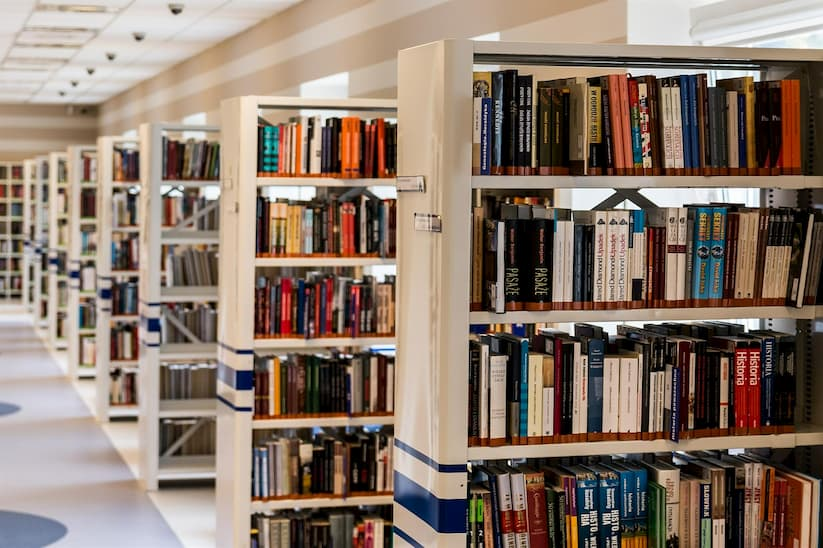 Photo of library shelves.