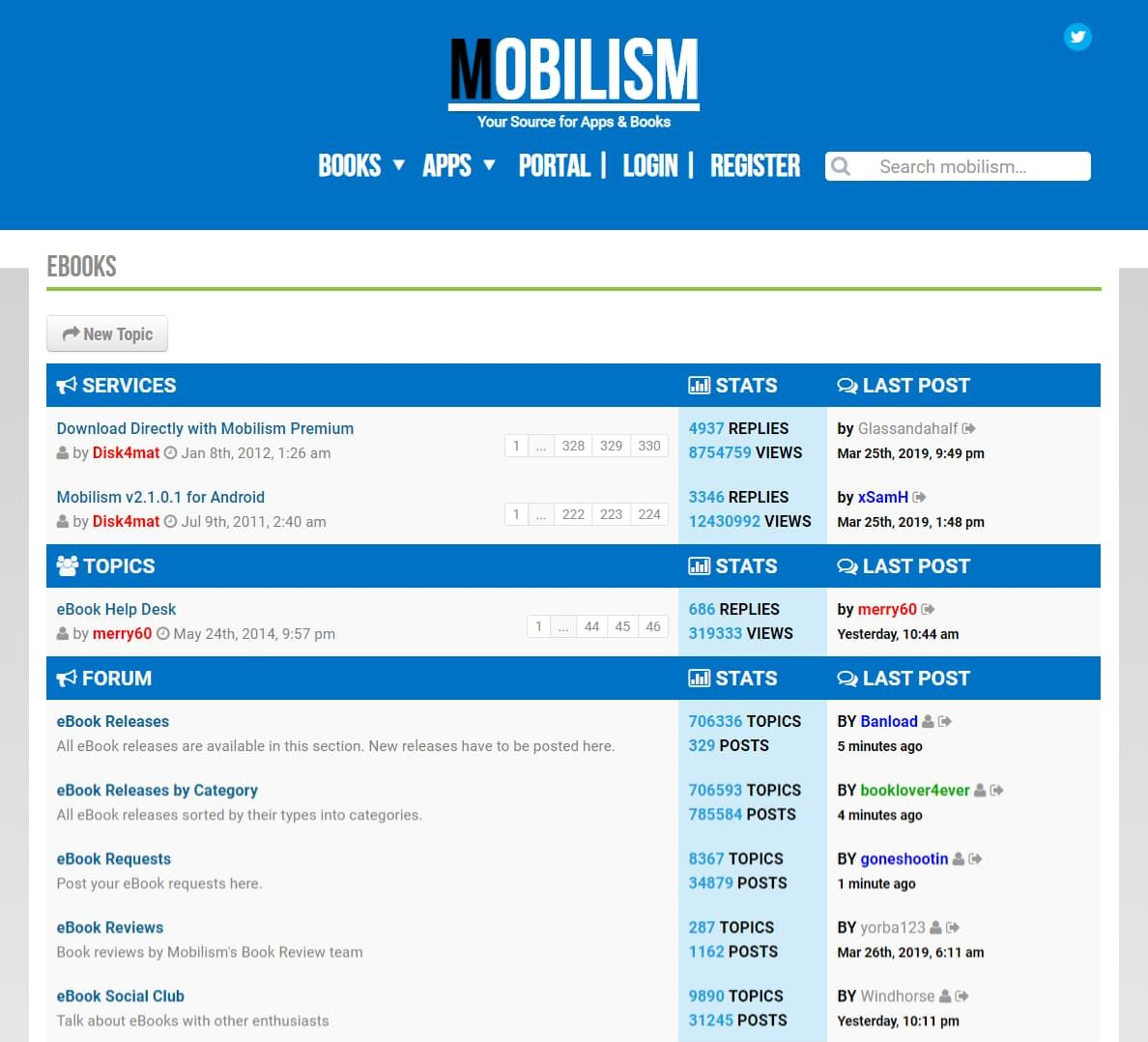 Screenshot of Mobilism's homepage at mobilism.org.