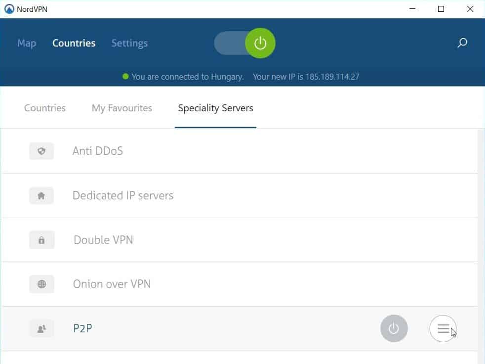 Screenshot of NordVPN's Speciality servers selection.