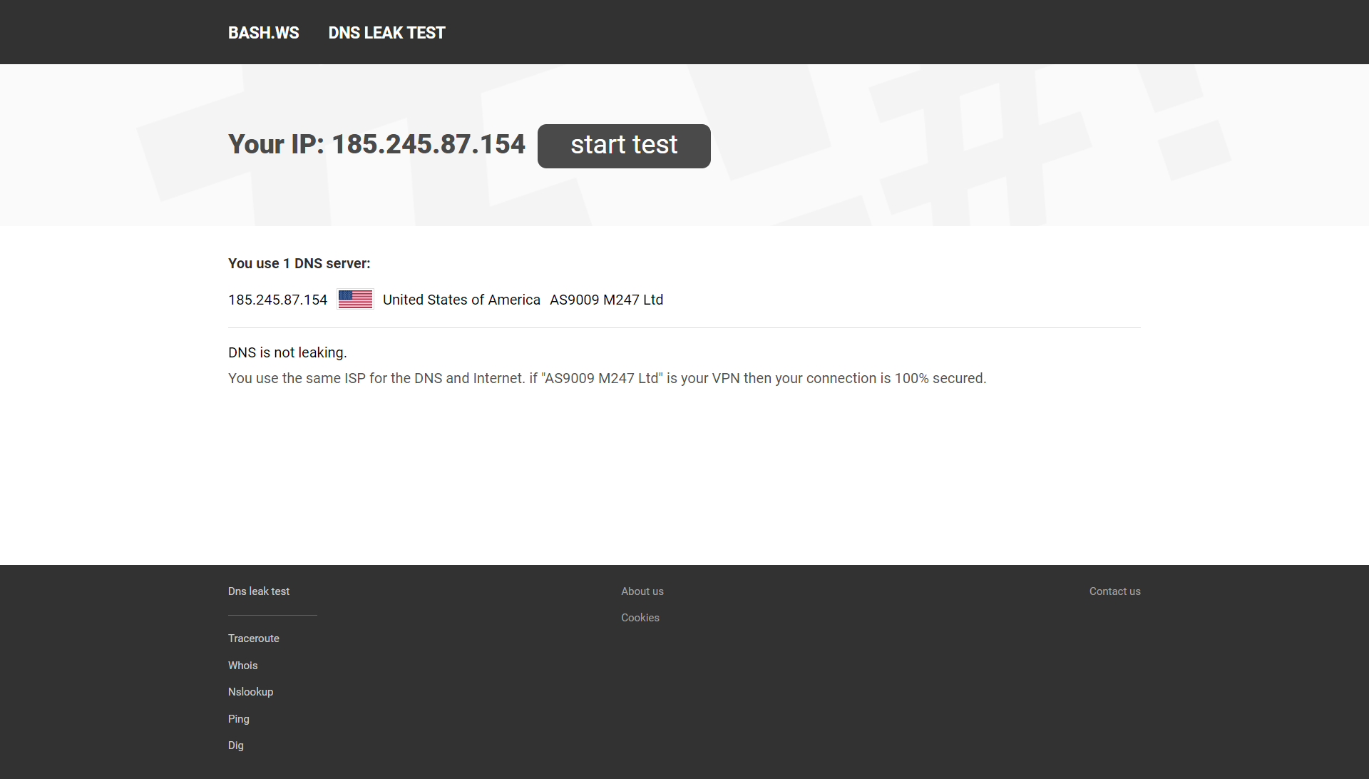 Screenshot of PIA DNS Leak test results.