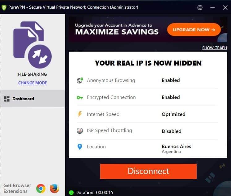 Screenshot of PureVPN app's File-sharing Mode.