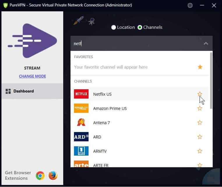 Screenshot of PureVPN's streaming mode.