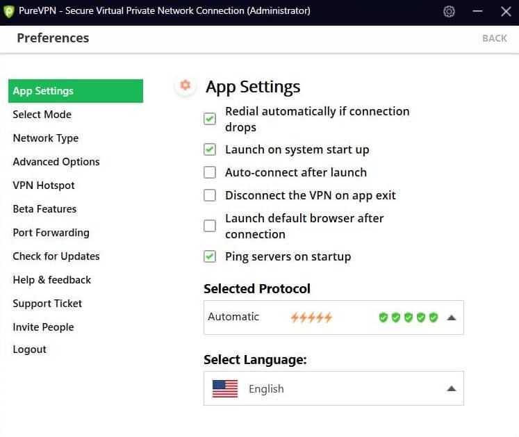 Screenshot of PureVPN app's Preference settings.